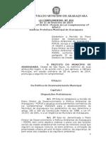 Plano Diretor de Desenvolvimento e Política Ambiental de Araraquara - Pddpa