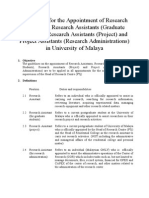 Guidelines for Appointment of Research Assistant University of Malaya (BI)-R2