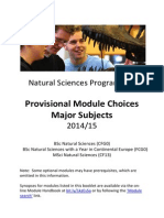 Natural Sciences Module Information