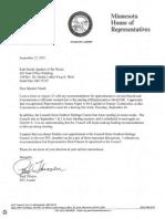 Sept. 22, 2015 Letter to Speaker Daudt from DFL Leader Thissen