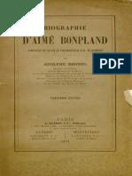 Biographie d'Aime Bonpland Compagnon de Voyage Et Collaborateur a Humboldt - Adolphe Brunel 1871