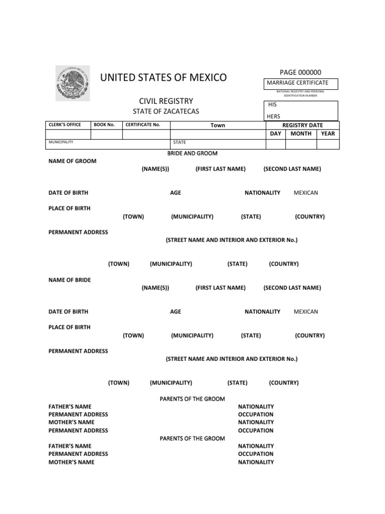 Mexico marriage certificate for Mexican marriage certificate translation template