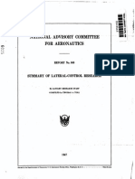 National Advisory Commitee for Aeronautics Report No. 868 Summary of Lateral-control Research by Langley Research St Aff Compiled by Thomas a. Toll 1947
