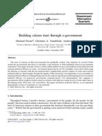 Building Citizen Trust Through E Government 2005 Government Information Quarterly
