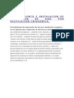 Procedimiento e Instalacion de Separacion de Aire Por Destilacion Criogenica