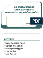PREDI Evaluacion Discurso Narrativo y Descriptivo en Adolescentes