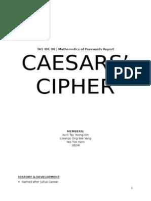 Caesar Cipher Report   Cipher   Secrecy