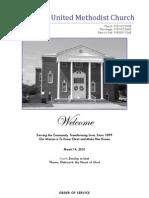 Spiro First United Methodist Church Worship Bulletin - March 14, 2010