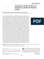 Management of G6PD defecient patient