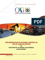 Auditor General's report on Implementation of national content in the oil and gas sector