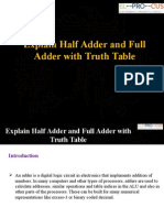 Explain Half Adder and Full Adder with Truth Table