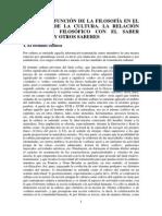 Tema 2. La Función de La Filosofía en El Conjunto de La Cultura