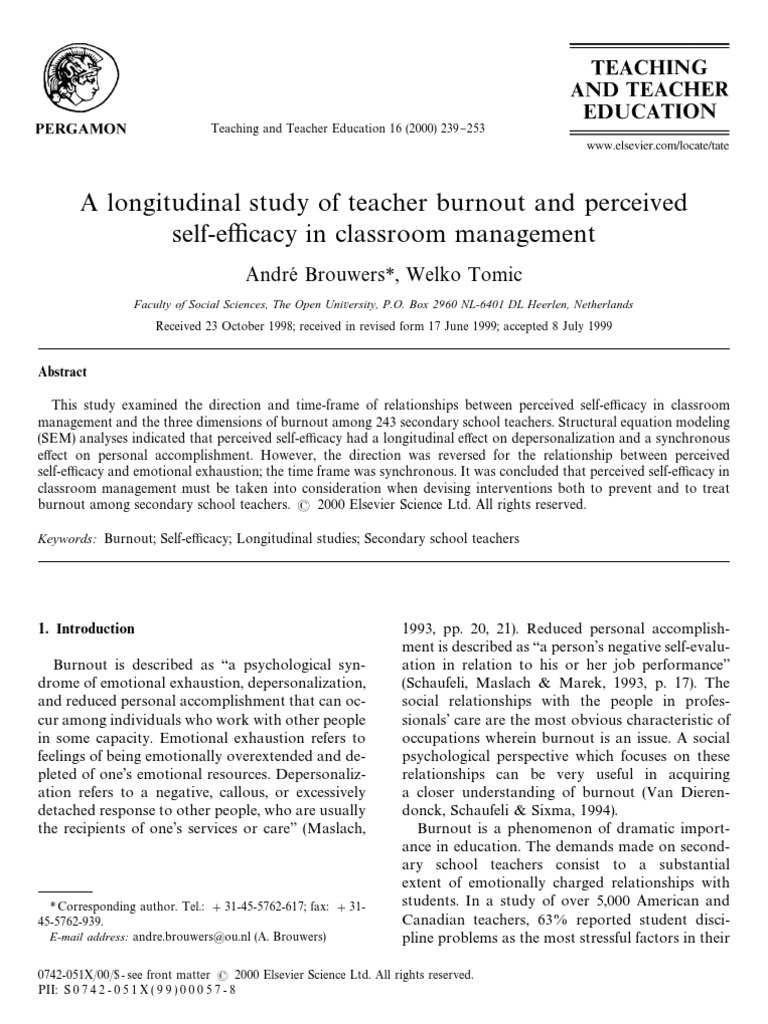 A Longitudinal Study of Teacher Burnout and Perceived Self-efficacy