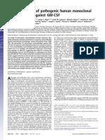 Characterization of pathogenic human monoclonal autoantibodies against GM-CSF