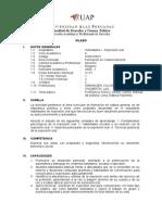 Syllabus Actividades I - Expresión Oral DERECHO UAP
