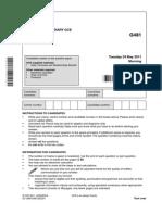 62266 Question Paper Unit g481 Mechanics