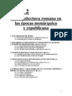 Tema 2. La Arquitectura Romana en Las Épocas Monárquica y Republicana