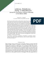 Monotheism, Polytheism, Monolatry, or Henotheism?Bbr18a01 Heiser