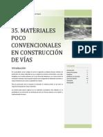 35 MATERIALES POCO CONVENCIONALES EN CONSTRUCCIÓN DE VÍAS