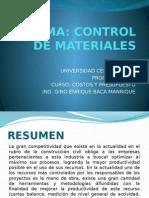 Control de Materiales