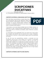 Descripción de Los Contextos Ext e Inter, Perfil Grupo y Diagnostico ASESORIAS 15 SEPT 15
