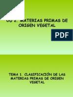 Clasificación de Las Materias Primas de Origen Vegetal