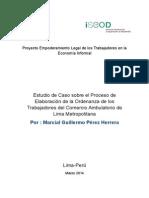 Estudio de Caso sobre la Elaboración de la Ordenanza que regula el comercio ambulatorio en Lima Metropolitana