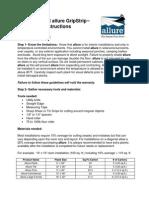 Official Allure GripStrip Installation Instructions Quick Start Sheet