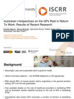 Australian Perspectives on the GPs Role in Return to Work Mazza Brijnath 2014