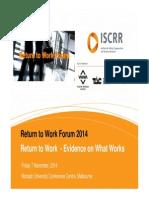 Return to Work Forum Presentation Collie Iles Cooney 2014