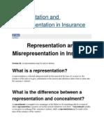 Representation and Misrepresentation in Insurance