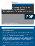 Impacts of an Ageing Workforce on Claim Rates and Work Disability Peter Smith ACHRF 2012