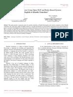 Machine Translation Using Open NLP and Rules Based System English to Marathi Translator