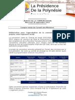 Compte Rendu Du Conseil Des Ministres - Mercredi 30 Septembre 2015