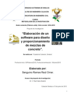 Elaboración de Un Software Para Diseño y Proporcionamiento de Mezclas de Concreto - PROYECTO de INVESTIGACIÓN - Omar Sanguino