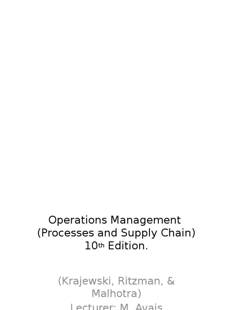 Operations Management Krajewski Chapter 1 | Supply Chain Management | Operations  Management