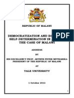 "President Arthur Peter Mutharika's Lecture at Yale University on 1 October 2015; ""Democratization and Economic Self-Determination in Africa_the Case of Malawi"""