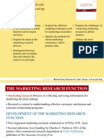 Marketing Research and Sales Forecasting Chapter Objectives