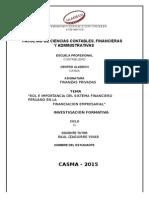 FINANZAS PRIVADAS I UNIDAD Rol de Importancia en Sistema Finciero Peruano (1)