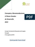 Concepto CTP a Planes Zonales de Desarrollo Envigado 2015