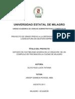 Estudio de Factibilidad Acerca de La Creación de Un Complejo de Piscinas en La Ciudad de Milagro.