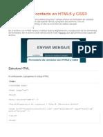 Formulario de Contacto en HTML5 y CSS3