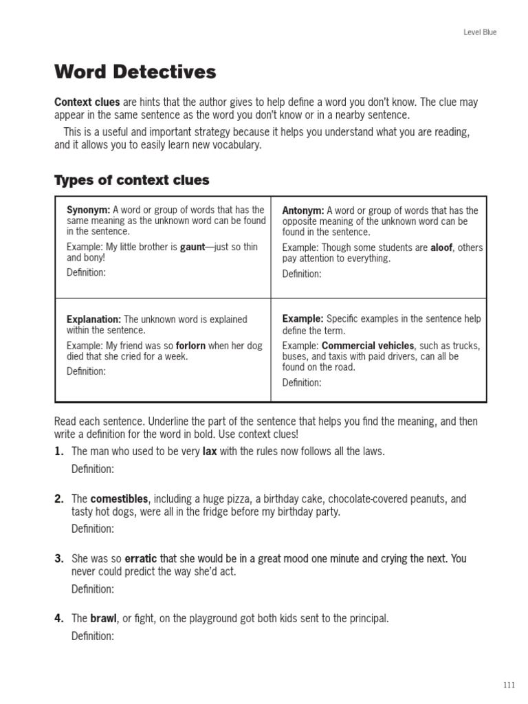 Word Detectives: Types of context clues