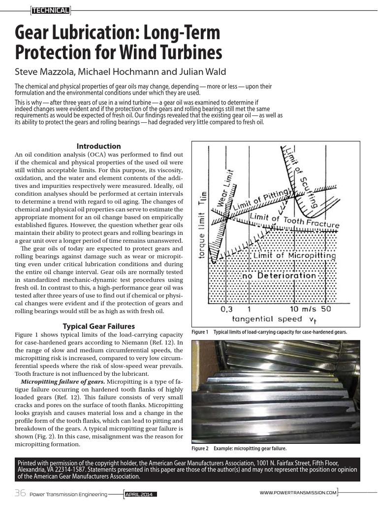 Gear Lubrication FZG Wind Turbines | Bearing (Mechanical) | Wear