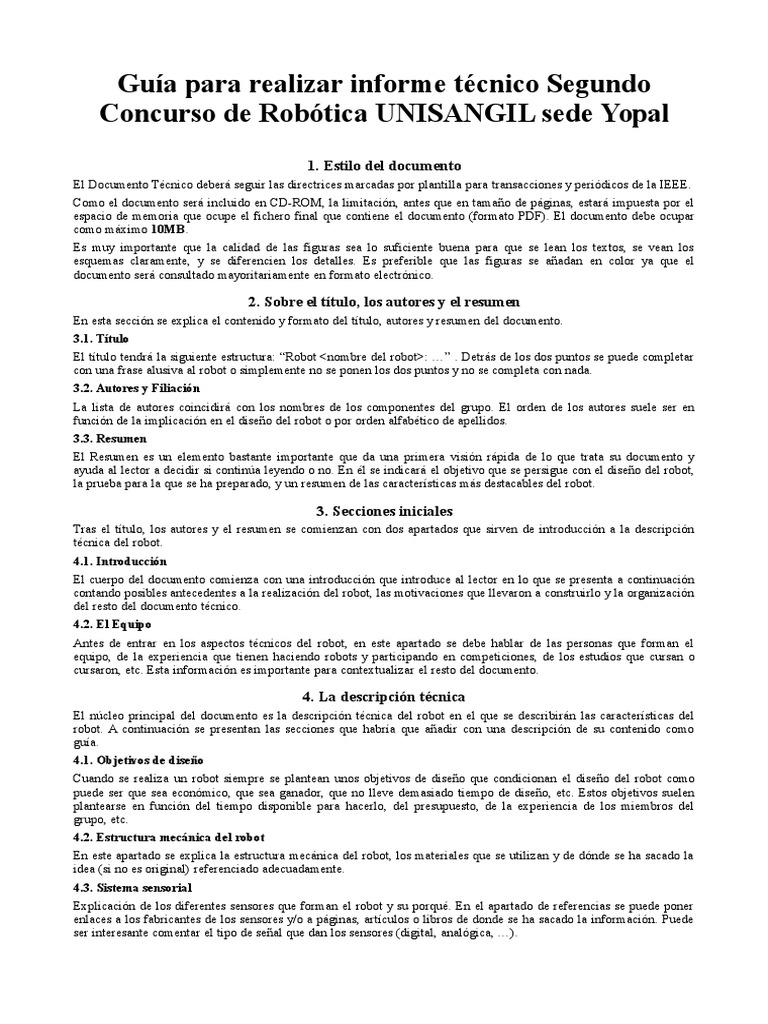 Guía Para Realizar Informe Técnico Utilizando La Plantilla de ...