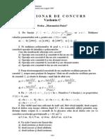 Chestionar - Grila - Matematica Fizica - Sesiunea I - 2007