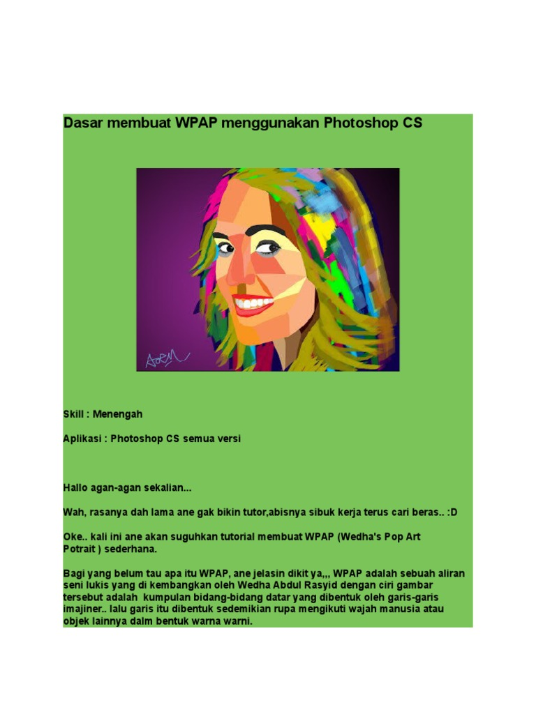 Dasar Membuat WPAP Menggunakan Photoshop CS
