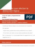 LÓGICA Y ARGUMENTACIÓN JURÍDICA  -Cuestiones que afectan la deducción lógica