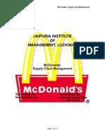 mc donalds - supply chain management