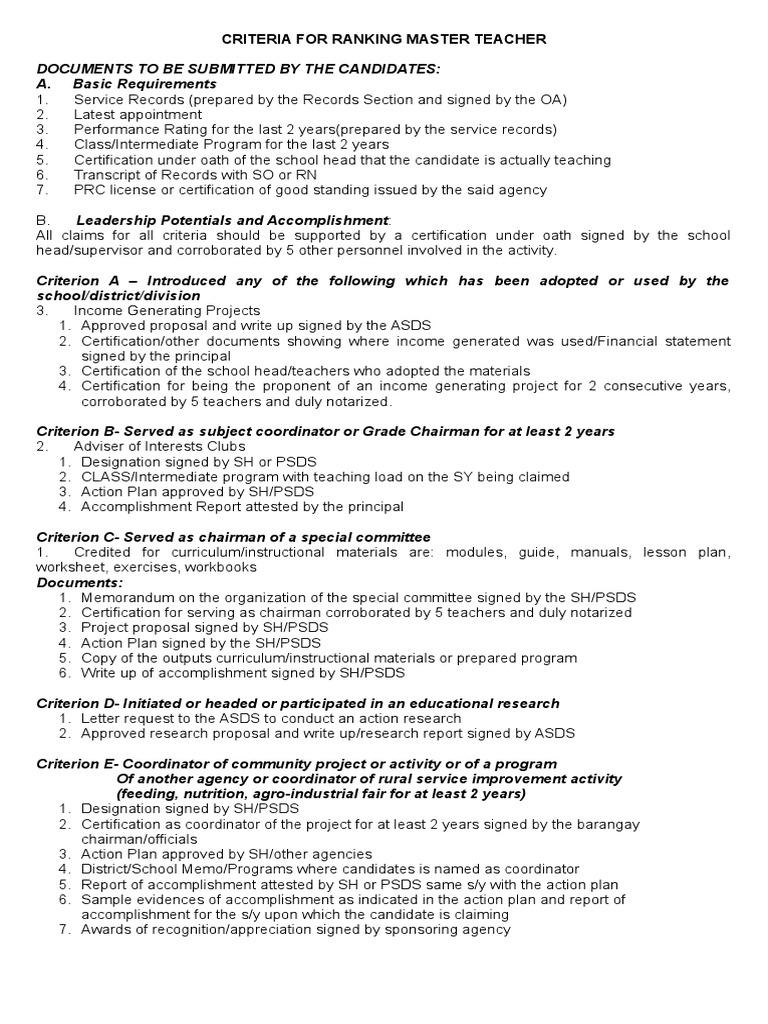 Criteria For Ranking Master Teacher In Deped Teachers Further